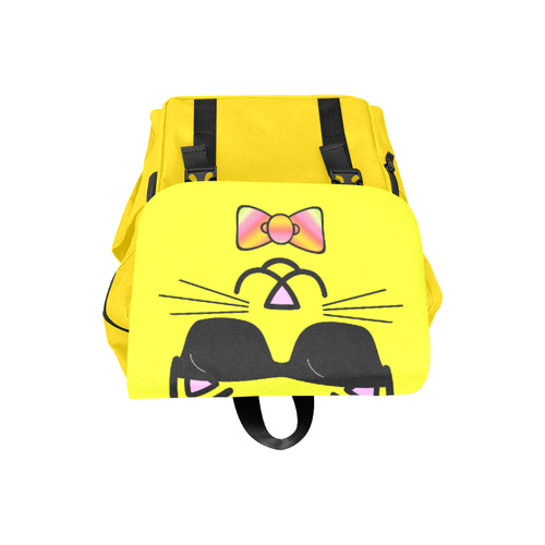 Cool Cat Wearing Bow Tie and Sunglasses Casual Shoulders Backpack (Model 1623)