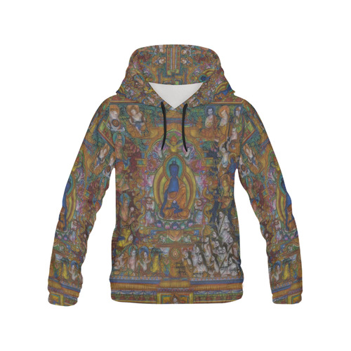 Awesome Thanka With The Holy Medicine Buddha All Over Print Hoodie for Women (USA Size) (Model H13)