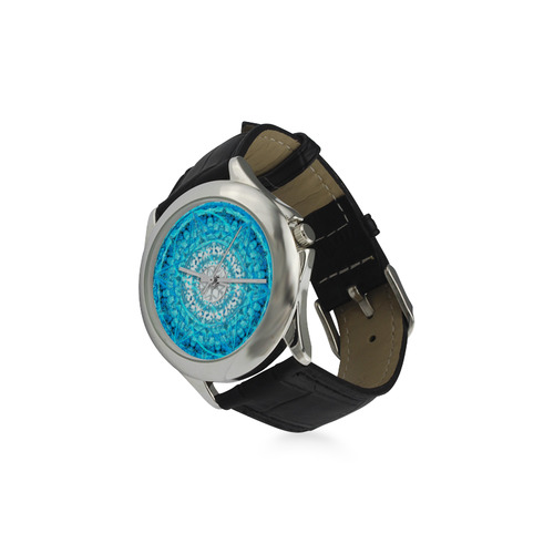 Protection from Jerusalem in blue Women's Classic Leather Strap Watch(Model 203)