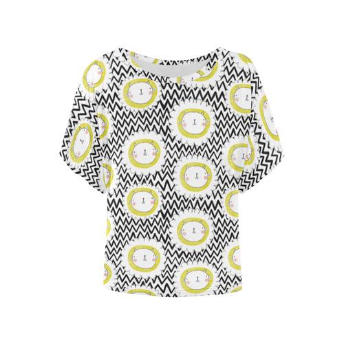 Cats & Chevrons Women's Batwing-Sleeved Blouse T shirt (Model T44)
