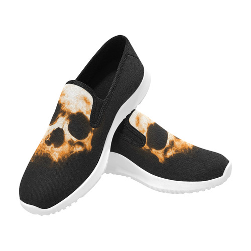 shadowy skull B by JamColors Orion Slip-on Women's Canvas Sneakers (Model 042)