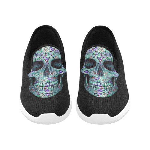 Skull-Unusual and unique 12B by JamColors Orion Slip-on Women's Canvas Sneakers (Model 042)