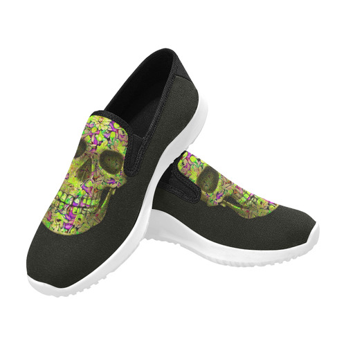 Skull-Unusual and unique 12C by JamColors Orion Slip-on Women's Canvas Sneakers (Model 042)