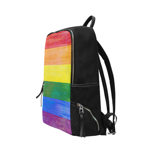 Rainbow Flag Colored Stripes Grunge Unisex Slim Backpack (Model 1664)