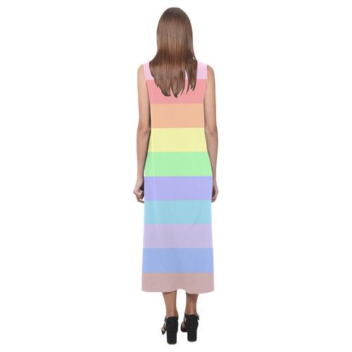 Pastel Rainbow Stripes Phaedra Sleeveless Open Fork Long Dress (Model D08)