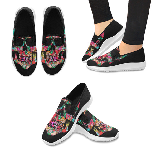 Awesome Bubble Skull A by JamColors Orion Slip-on Women's Canvas Sneakers (Model 042)