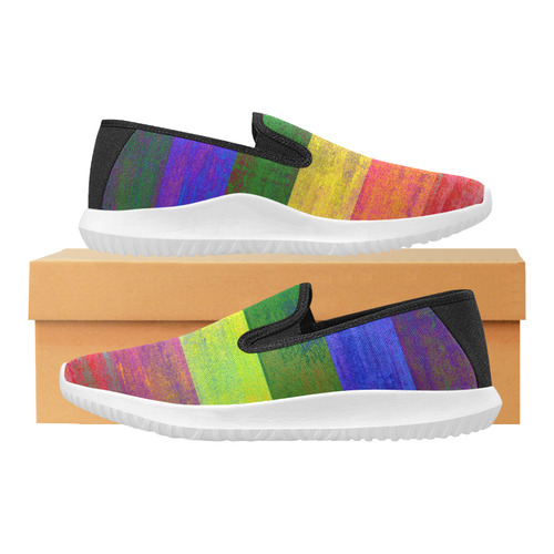 Rainbow Flag Colored Stripes Dark Grunge Orion Slip-on Women's Canvas Sneakers (Model 042)