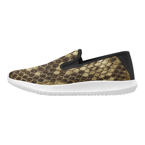 Golden Snakeskin - No snake has to die for it Orion Slip-on Women's Canvas Sneakers (Model 042)