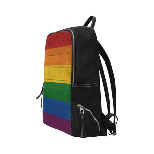 Rainbow Flag Colored Stripes Wood Unisex Slim Backpack (Model 1664)