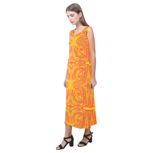 Orange and Yellow Tribal Butterflies 9059 Phaedra Sleeveless Open Fork Long Dress (Model D08)