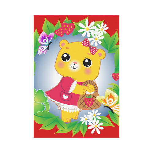 cutesy bear garden flag Garden Flag 28''x40'' (Without Flagpole)