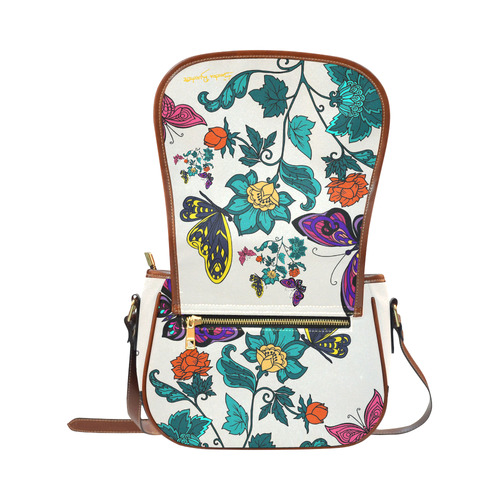Flowers and Butterflies Saddle Bag/Small (Model 1649) Full Customization