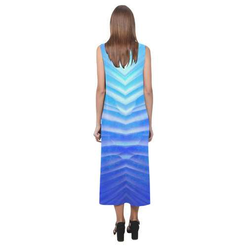 blue corner Phaedra Sleeveless Open Fork Long Dress (Model D08)