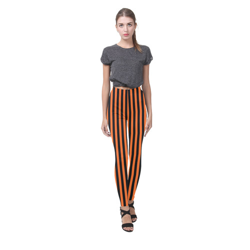 Black and Orange Stripes Cassandra Women's Leggings (Model L01)