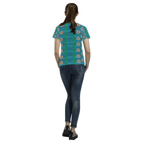 Wood silver and rainbows All Over Print T-Shirt for Women (USA Size) (Model T40)