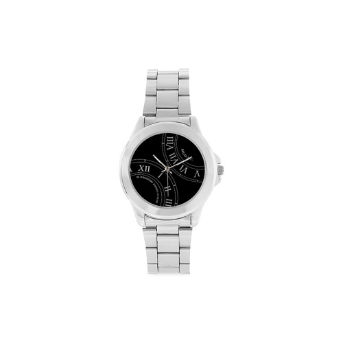 Roman Numeral Mid Nite Faced Silver Watch Unisex Stainless Steel Watch(Model 103)