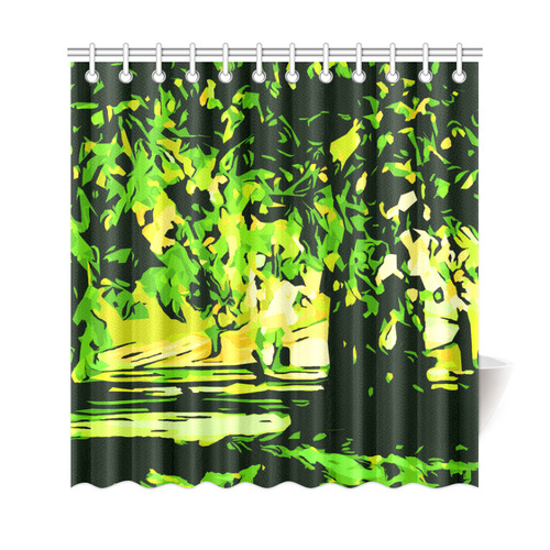 Forest Park Trees Abstract Landscape Shower Curtain