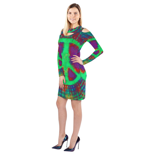 Psychedelic Tie Dye Green Peace Sign Cold Shoulder Long Sleeve Dress (Model D37)