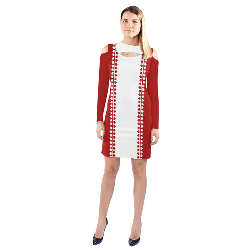 Canada Dress Classic Canada Flag Dresses Cold Shoulder Long Sleeve Dress  (Model D37)