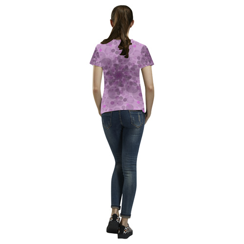 Circles in purple All Over Print T-Shirt for Women (USA Size) (Model T40)