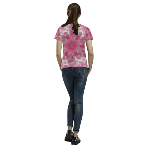 pink and purple soft spots All Over Print T-Shirt for Women (USA Size) (Model T40)