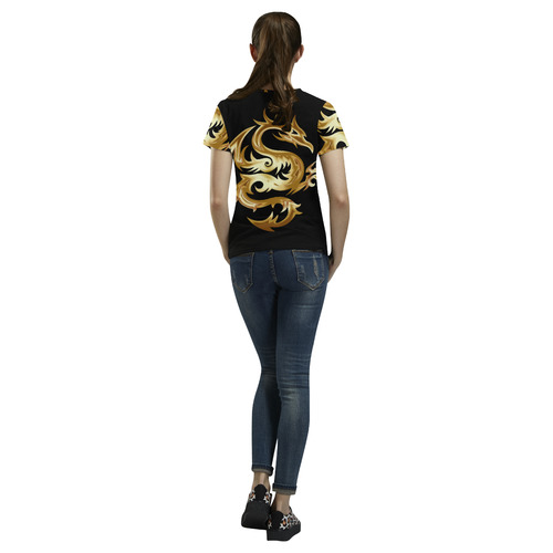 Tribal Tattoo Gold Dragon All Over Print T-Shirt for Women (USA Size) (Model T40)