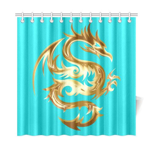 Tribal Tattoo Gold Dragon Shower Curtain 72x72