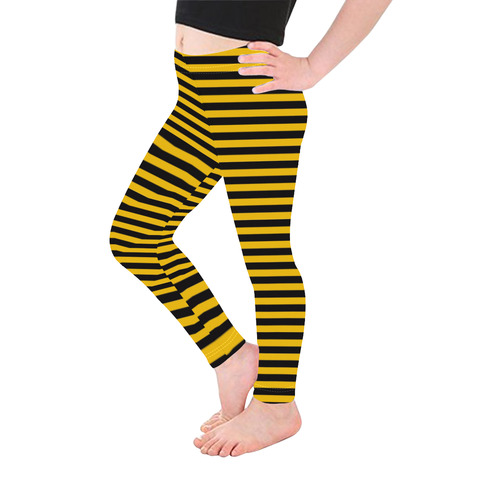 Halloween Black and  Yellow Stripes Kid's Ankle Length Leggings (Model L06)