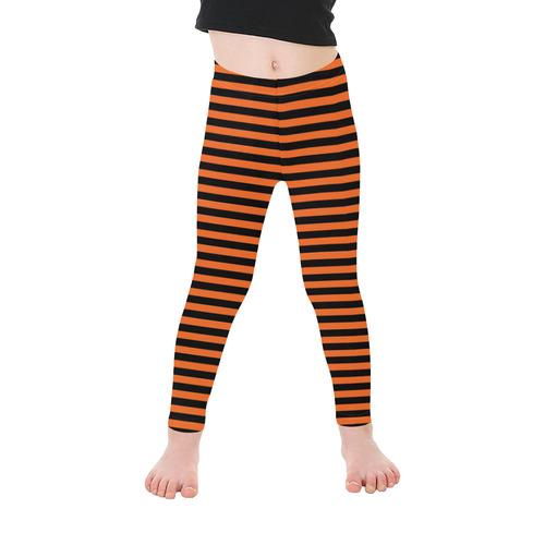 Halloween Black and Orange Stripes Kid's Ankle Length Leggings (Model L06)