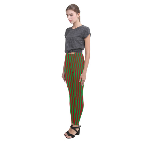 Halloween Stripes Green and Red Cassandra Women's Leggings (Model L01)