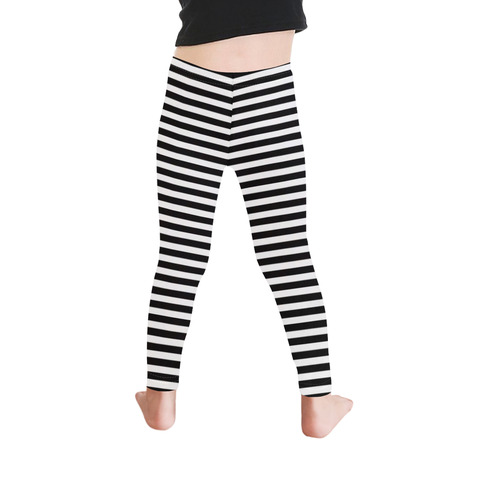 Halloween Black and White Stripes Kid's Ankle Length Leggings (Model L06)
