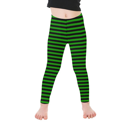Halloween Black and Green Stripes Kid's Ankle Length Leggings (Model L06)