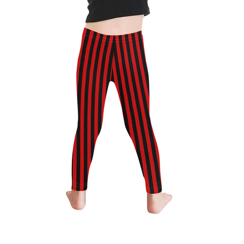 Halloween Black and Red Stripes Kid's Ankle Length Leggings (Model L06)