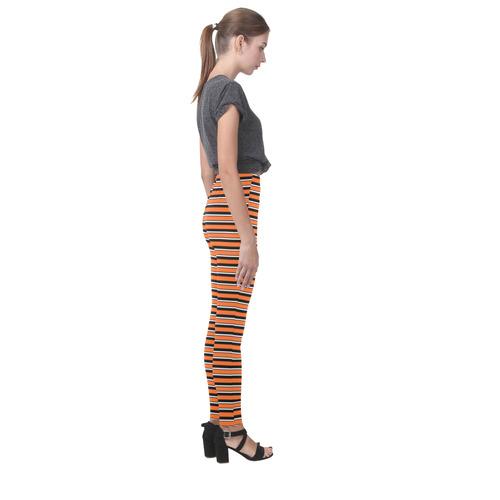 Halloween Stripes Orange, Black and White Cassandra Women's Leggings (Model L01)