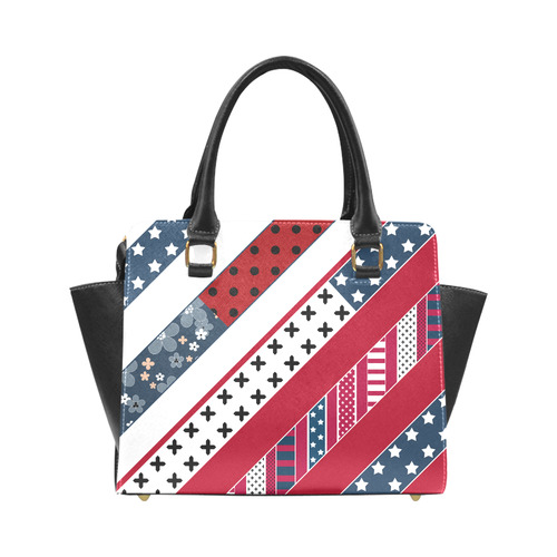 Red white blue pattern Rivet Shoulder Handbag (Model 1645)