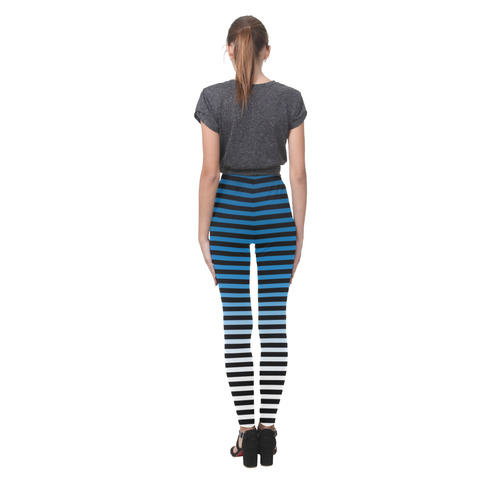 Black, Blue and White Stripes Cassandra Women's Leggings (Model L01)