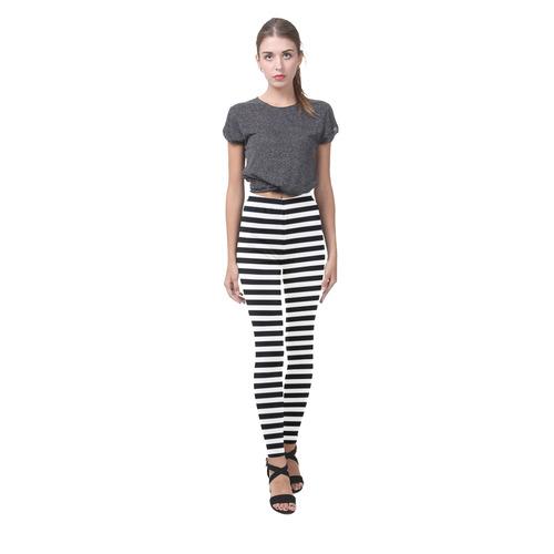 Halloween Black And White Stripes Cassandra Women's Leggings (Model L01)