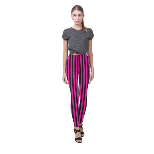 Halloween Black and Pink Stripes Cassandra Women's Leggings (Model L01)