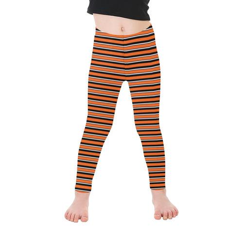 Halloween Stripes Orange, Black and White Kid's Ankle Length Leggings (Model L06)
