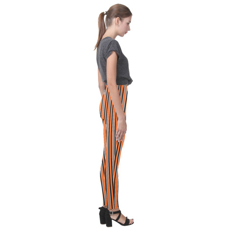 Halloween Stripes Orange, Black and White Cassandra Women's Leggings (Model L01)