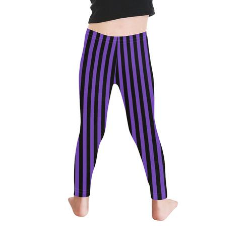Halloween Black and Purple Stripes Kid's Ankle Length Leggings (Model L06)