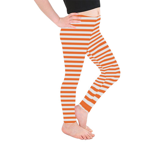 Halloween White and Orange Stripes Kid's Ankle Length Leggings (Model L06)