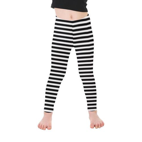 Halloween Black and White Stripes Kid's Ankle Length Leggings (Model L06)