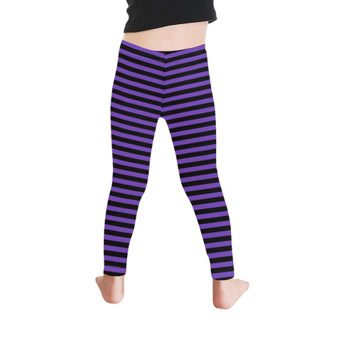 Halloween Black and Purple Stripes Kid's Ankle Length Leggings (Model L06)