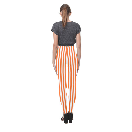 Halloween Orange and White Stripes Cassandra Women's Leggings (Model L01)
