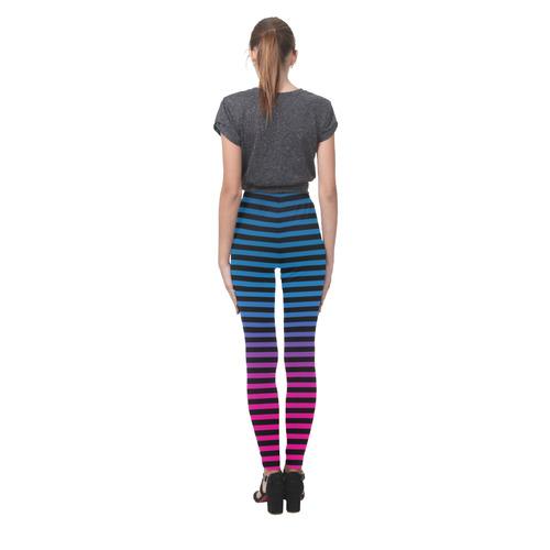 Black, Blue and Pink Stripes Cassandra Women's Leggings (Model L01)