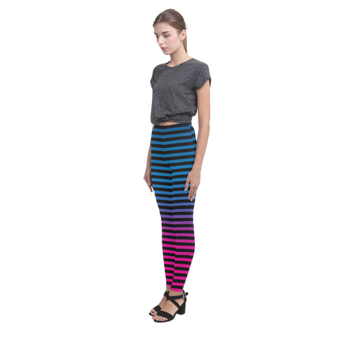 Black, Blue and Pink Stripes Cassandra Women's Leggings (Model L01)