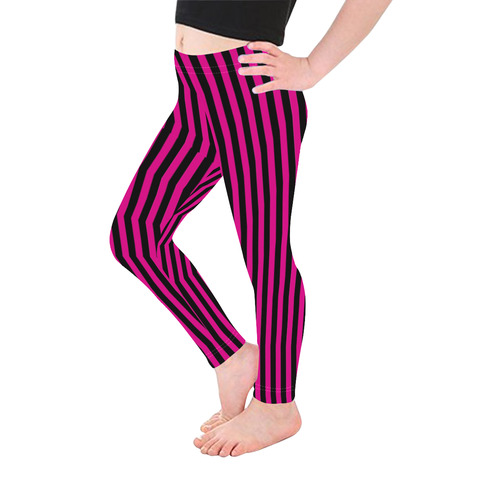 Halloween Black and Pink Stripes Kid's Ankle Length Leggings (Model L06)