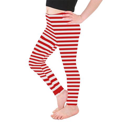 Halloween White and Red Stripes Kid's Ankle Length Leggings (Model L06)