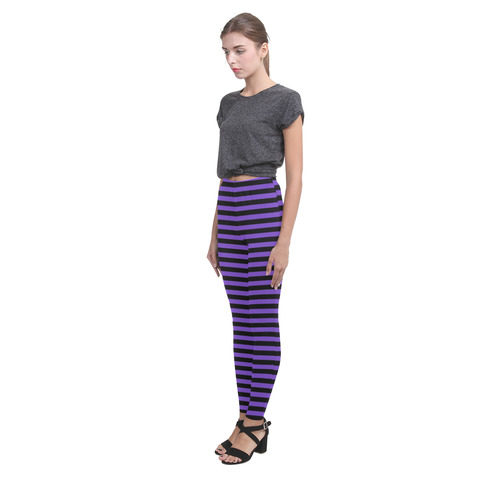 Halloween Black and Purple Stripes Cassandra Women's Leggings (Model L01)